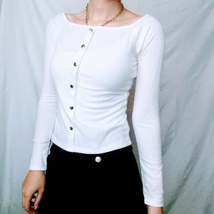 White Button Square Neckline Long Sleeve
